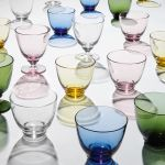 Holmegaard - Flow Wasserglas mit Fuß 35 cl, olivgrün
