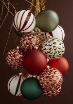 Holmegaard Souvenir - Weihnachtskugel grün gepunktet Ø8 cm
