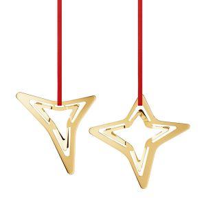 Georg Jensen - Weihnachtsornament 3- und 4-zackiger Stern 2021, vergoldet