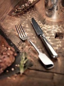 Robbe & Berking  Frozen Black - Alt-Spaten Steakmesser, versilbert