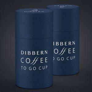 Dibbern - Fine Bone China Coffee-To-Go Becher mit Lederbanderole, lichtgrau