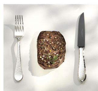 Robbe & Berking Frozen Black - Martelé Steakmesser, 925 Sterling- Silber