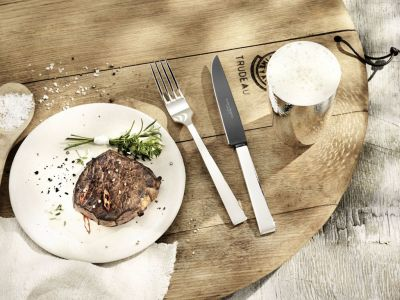 Robbe & Berking Frozen Black - Riva Steakmesser, versilbert