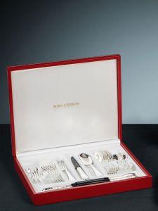 Robbe & Berking Frozen Black - Alt-Spaten Grillset 24 tlg., 925 Sterling-Silber