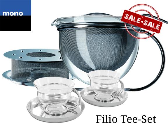 Mono Filio Teekanne + Stövchen + 2 Teetassen
