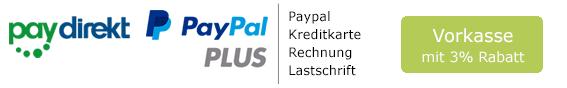 Paypal, Kreditkarte, Rechnung, Lastschrift und Vorkasse mit 3% Rabatt